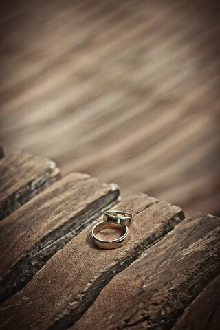 Wedding Rings on a Table