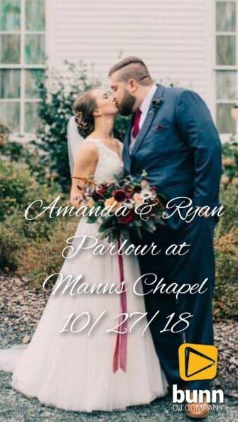 parlous at Manns chapel wedding dj Bunn Dj company