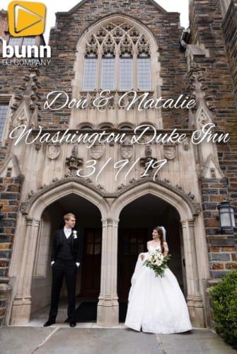 Washington Duke inn wedding dj Bunn dJ company